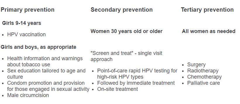 human papillomavirus prevention and control