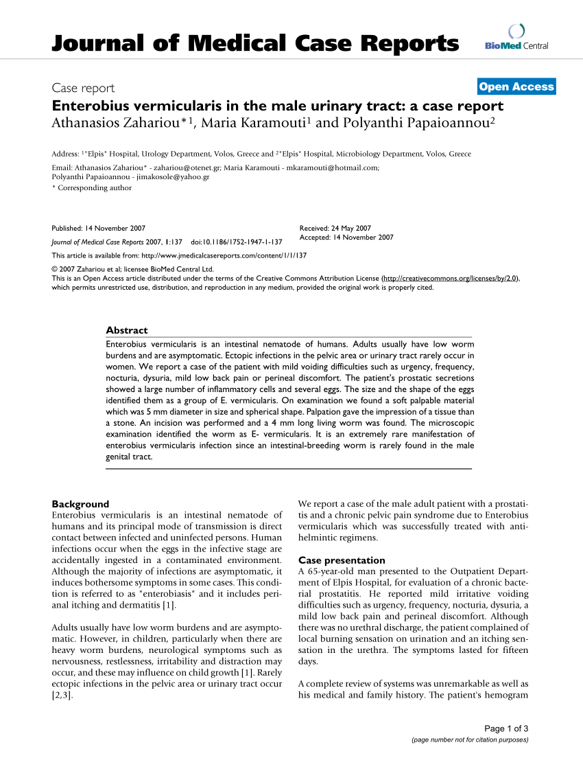 enterobiasis treatment medscape