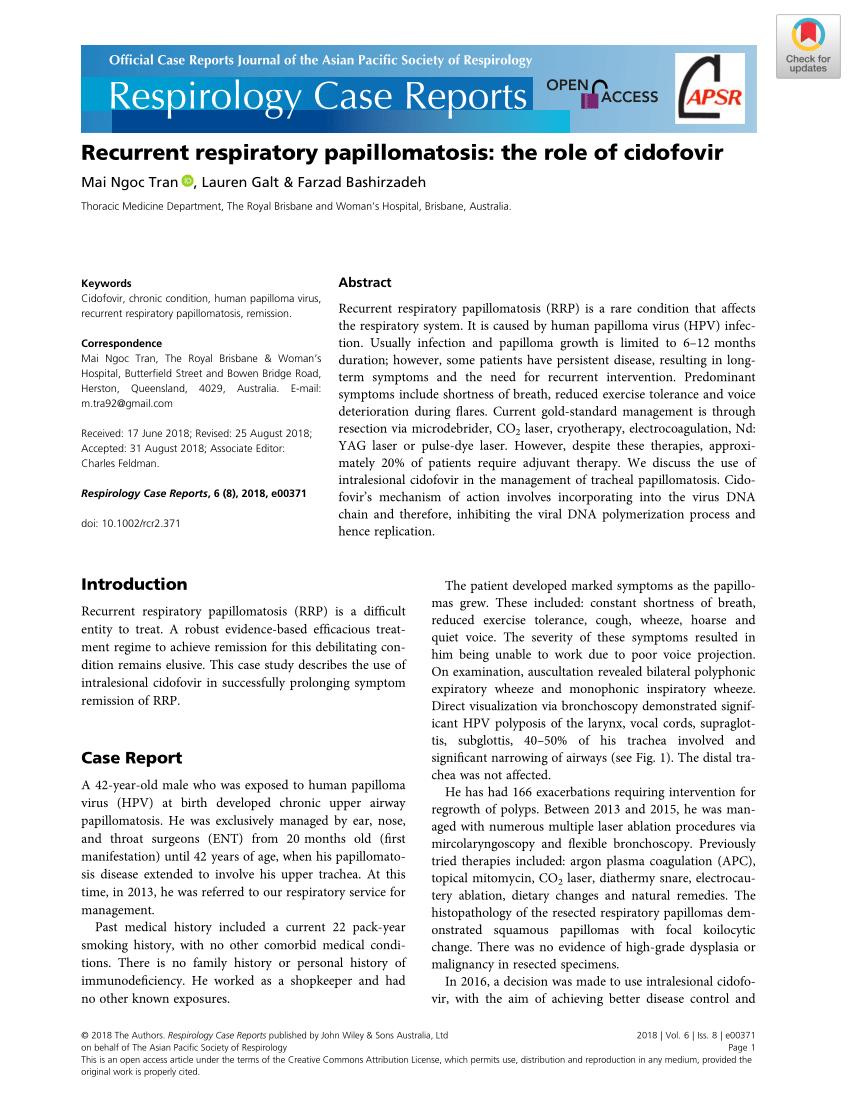cidofovir for pediatric recurrent respiratory papillomatosis analiza la helminti