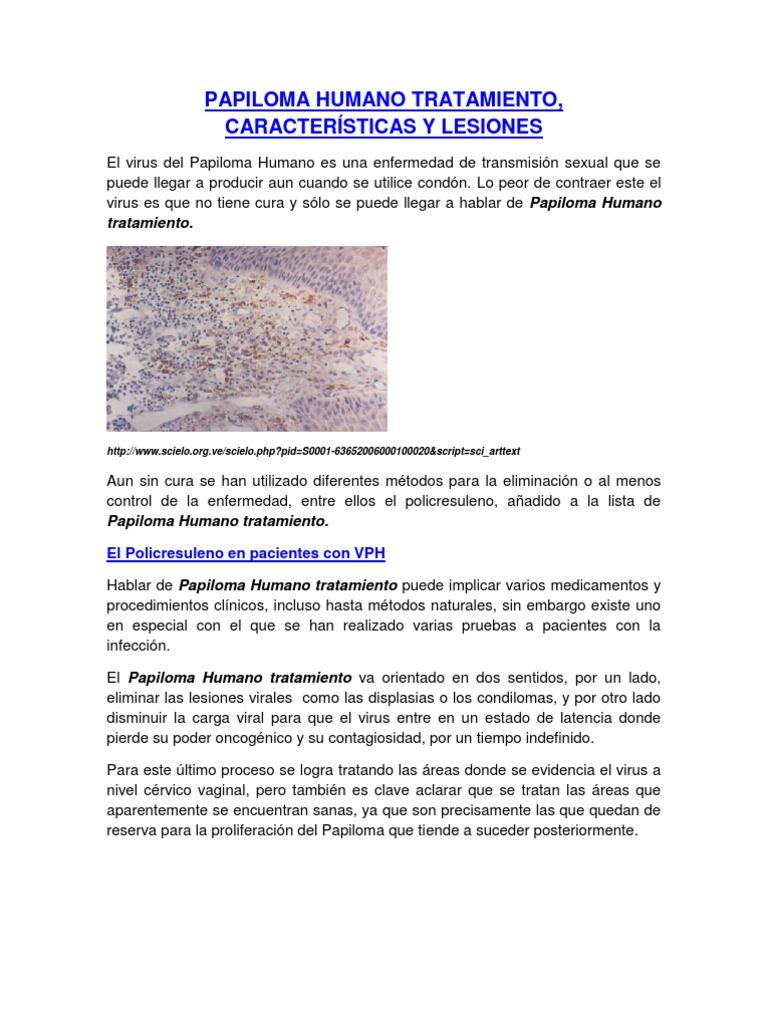 caracteristicas del papiloma virus