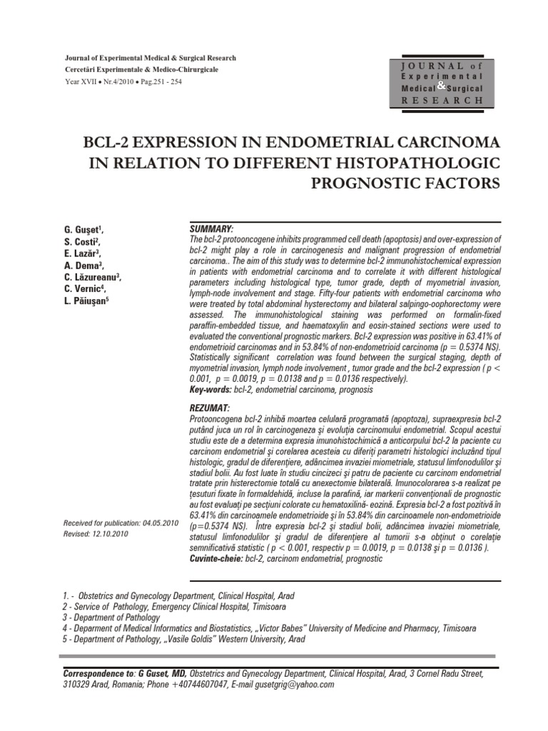 cancer endometrial stadiul 2