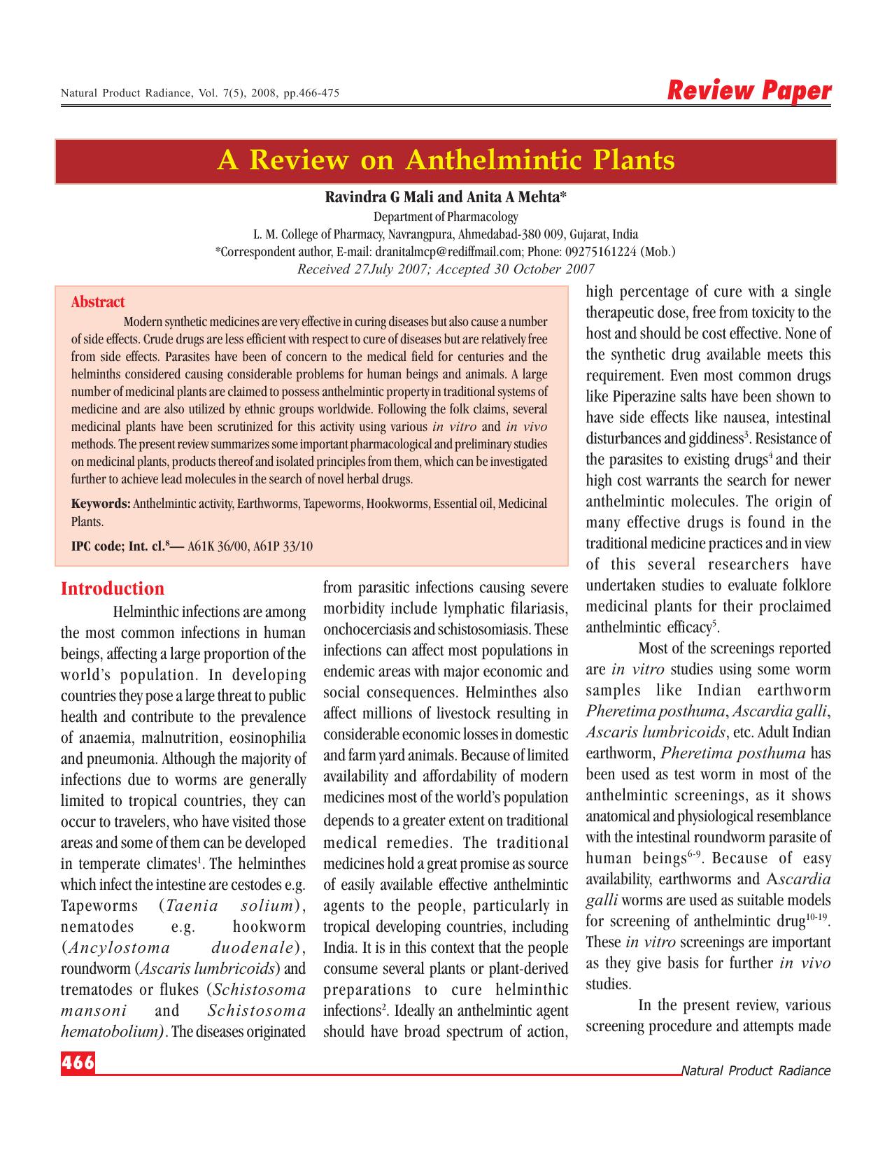 anthelmintic drugs in ayurveda parazity v tele vysetrenie
