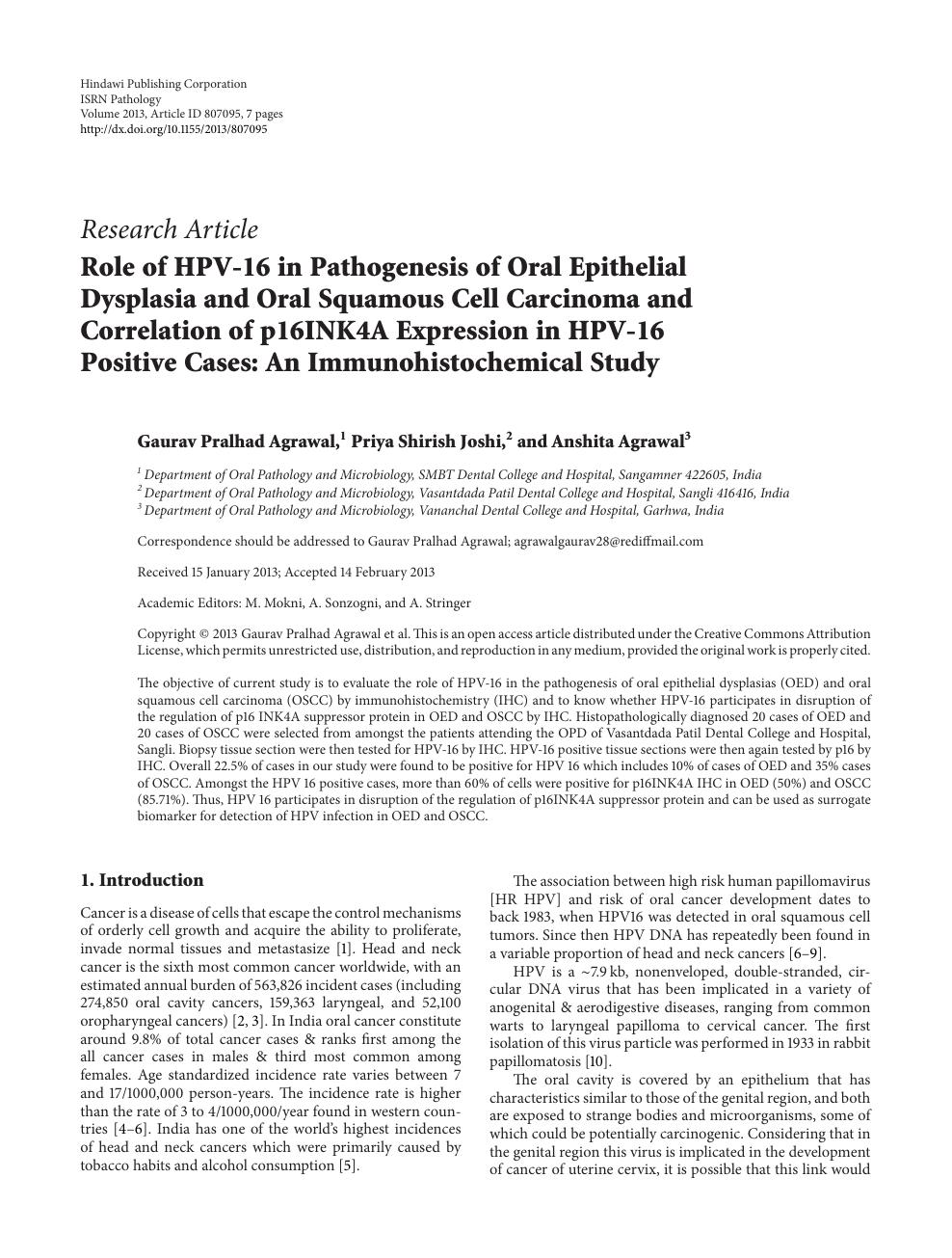 hpv research articles cancer malign la ochi