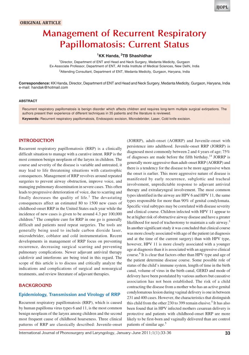 recurrent respiratory papillomatosis asthma papilloma virus genotipo 51